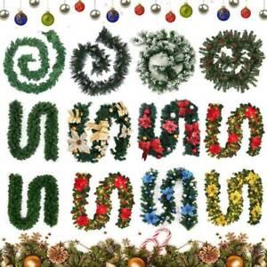 9FT-Ghirlanda-Natale-Pre-Illuminato-Con-Luci-Fata-PINO-Natale-Decorazioni-Camino