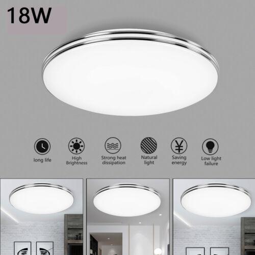 LED Deckenleuchte ultraflach Panel Deckenlampe Wohnzimmer Flur Slim silber weiß