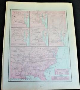 Crams Atlas Map Page Plate American Civil War Era 1860 1865 Vintage - Us-map-civil-war-era