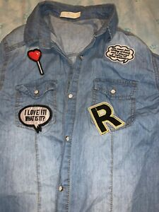 Denim-Shirt-With-Patches-Size-M