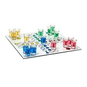 Trinkspiel Drinking Ludo Saufspiel Partyspiel Würfel 16 Schnapsgläser Glasbecher