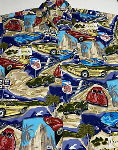Island Collection Men's Route 66 Corvette Rayon Button Up Hawaiian Shirt L Large