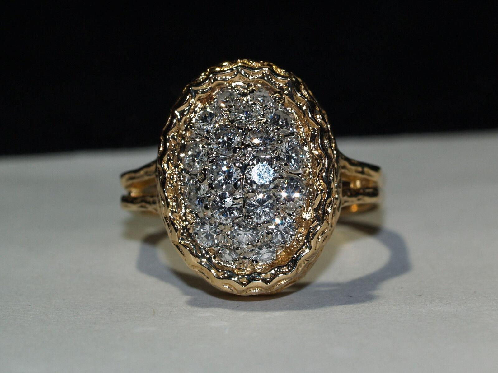 Beaitiful 14-k Yellow gold Pave Oval Diamond Ring