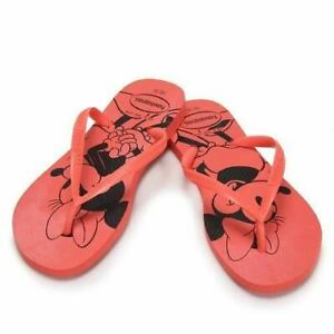 Havaianas Slim Women Disney Minnie Mouse Flip Flop Red Sandals Shoe All Sizes