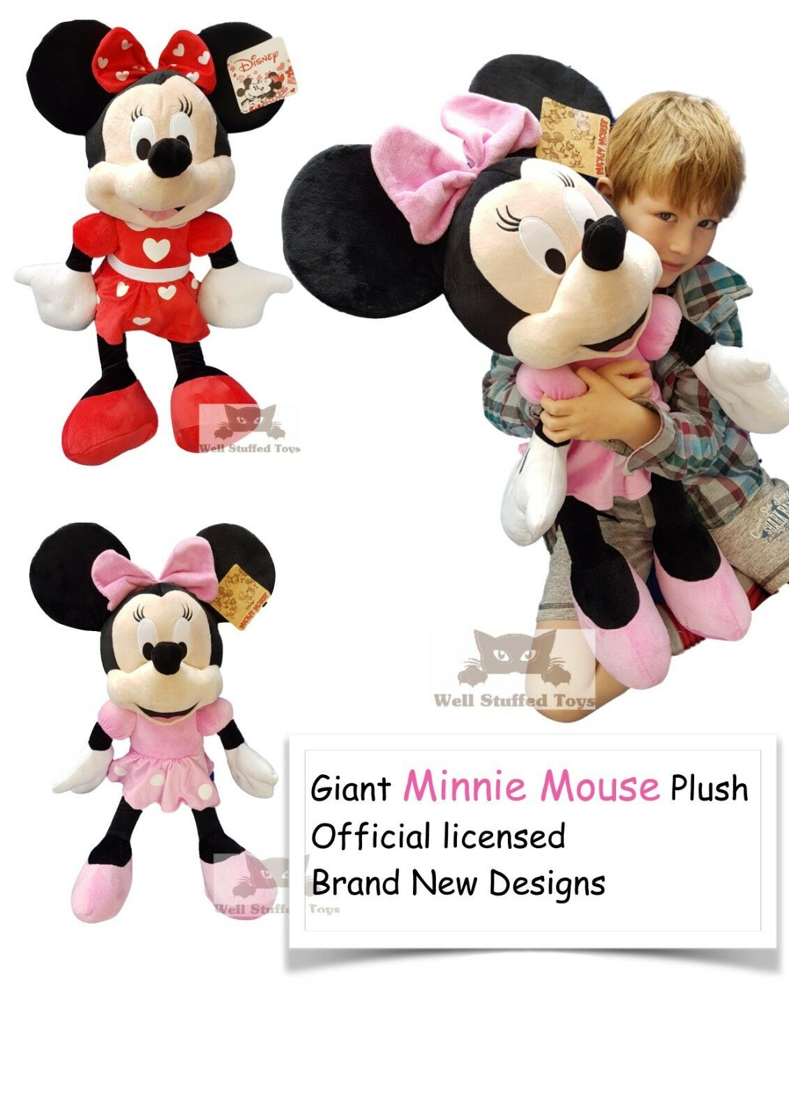 Official Extra Large Minnie Mouse Plush Soft Toy Gift 30