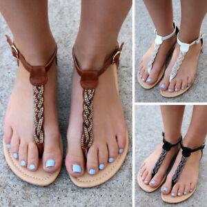 Women-039-s-Ladies-Flat-Flip-Flops-Summer-Beach-Sandals-Casual-Roman-Shoes-Size-5-9