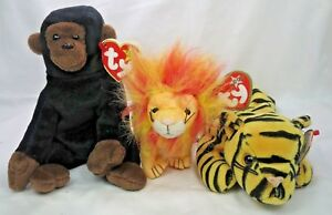 a6edc486edc Ty Congo Gorilla Bushy Lion Teenie Tiger The Beanie Babies Original  Collection