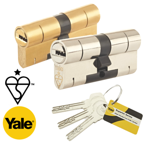 90mm overall Yale Anti-Bump Euro Cylinder Nickel Plated 40//50 with 1 extra key 4 Total - kitemark high security British Standard BS EN 1303:2005 lock. Lock