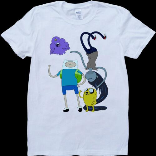 Custom Made T-Shirt Adventure Time Cartoon Jake and Finn Funny Men/'s White
