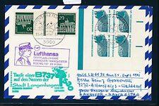 78213) LH FF Hannover - Manchester 24.9.91, Karte + Taufe LANGENHAGEN SWK