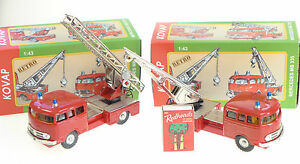 2-x-MERCEDES-FIRE-VEHICLES-TURNTABLE-LADDER-amp-TOW-TRUCK-1-43-KOVAP-TIN-TOYS