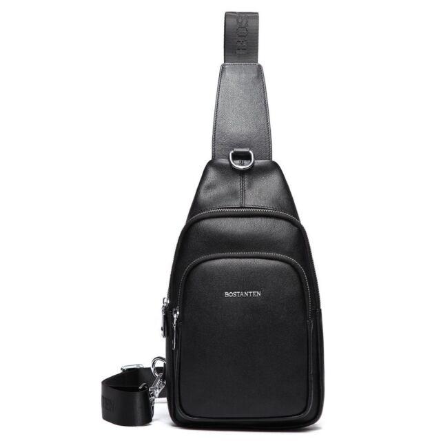 BOSTANTEN Leather Outdoor Chest Sling Pack Bag Cross-body Backpack For Men