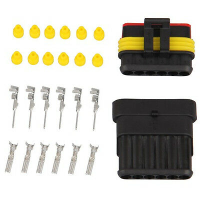10 Kit 6 Pin Way Waterproof Electrical Wire Connector Plug new