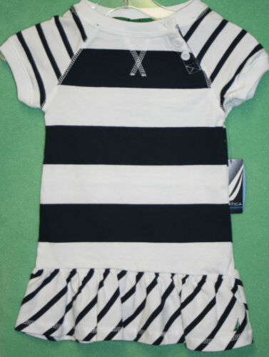 Nautica Dress White with Navy Blue Stripes Toddler Girls Dress Cotton