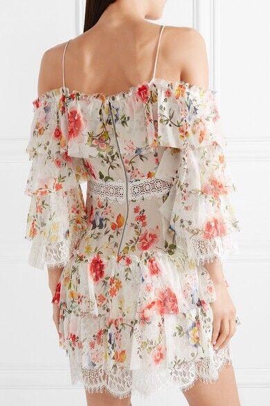 Alice + Olivia Santos Cold Shoulder Lace Trimmed Floral Silk Dres Size 0 NWT