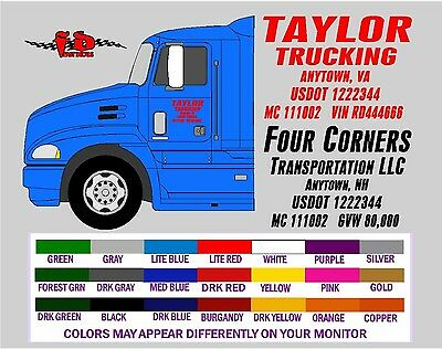 Semi Truck lettering DOT VIN GVW MC Vinyl Decals 2 inch Text Letters Numbers