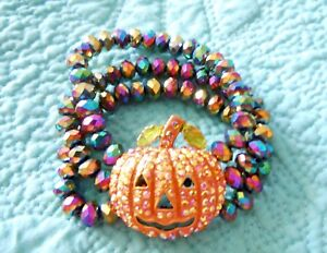 Kirks-Folly-Starlight-Pumpkin-Stretch-Bracelet-Goldtone-Halloween