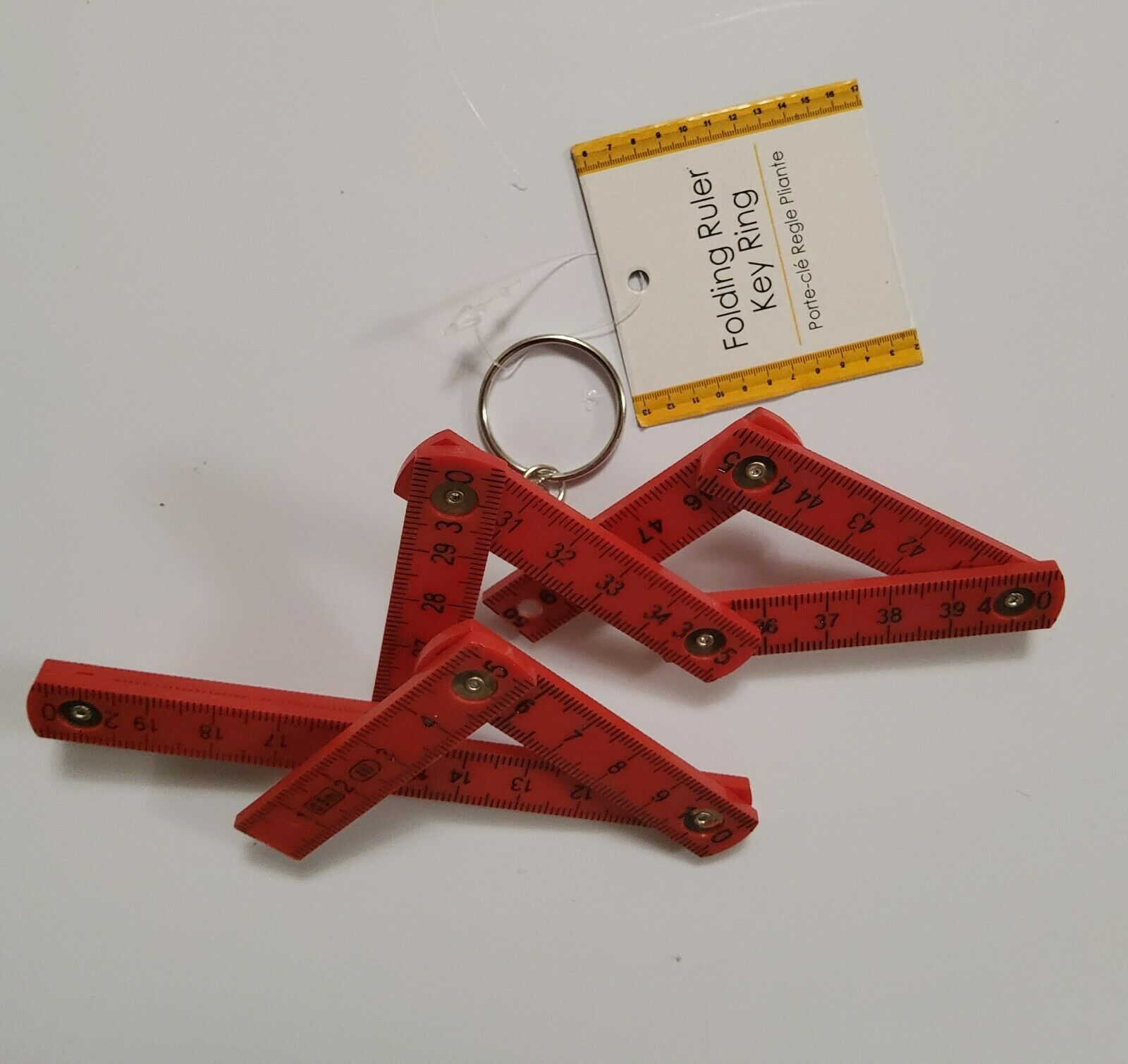 0.5M/5cm Mini Folding Traditional Carpenter Ruler Key Ring Assorted Colour (03)