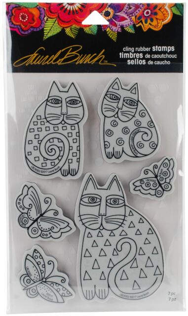 Stampendous Laurel Burch Cling Stamp W/Template -Indigo Cats -LBCRS02