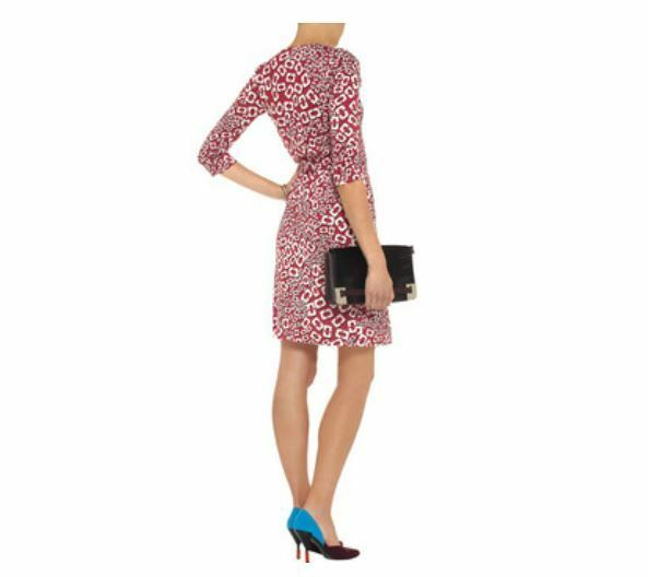 495 Diane von Furstenberg New Julian Two Chain Chain Chain Link Shadow Starbust Dress NWT 4 05bfac