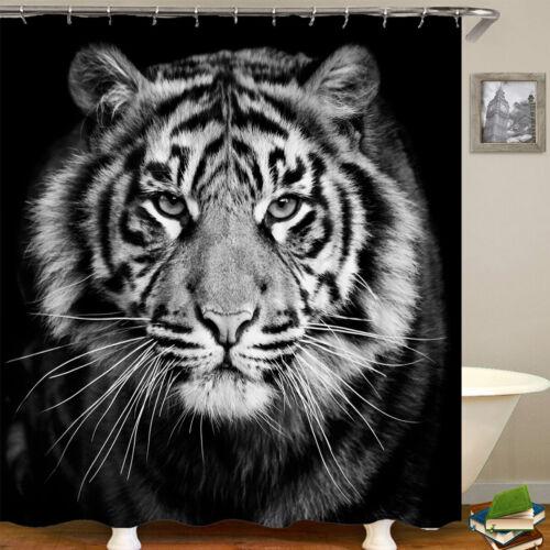 Tiger Black Printing Bathroom Shower Curtain Toilet Cover Mat Non-Slip Rug Set