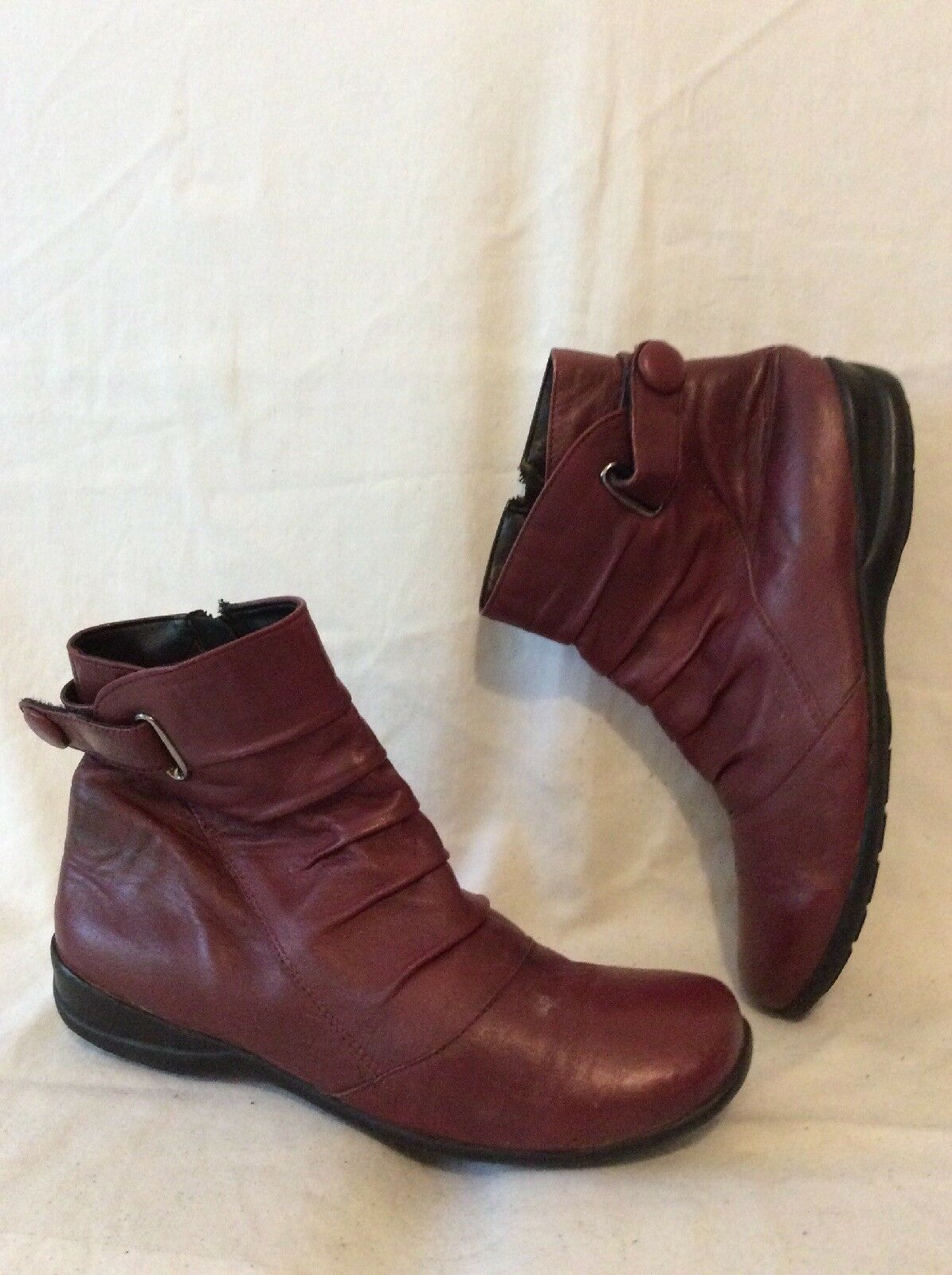 Lotus Maroon Ankle Leather Boots Size 6
