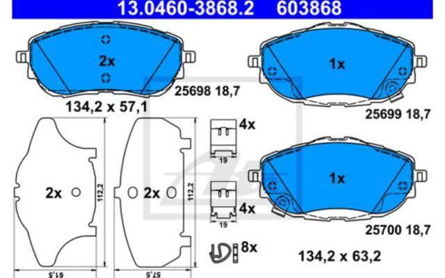 4x ATE Pastillas de Freno Delanteras 13.0460-3868.2
