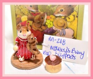 Wee-Forest-Folk-M-218-Mousey-039-s-Bunny-Slippers-Mouse-Red-Dress-Retired-WFF