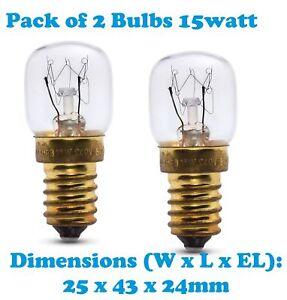 Singer 2x 15 Watt SES E14 300C Cooker Oven Microwave lamp Bulb