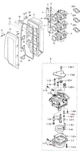 3B7871221M Nissan /& Tohatsu Marine Carburetor Repair Kit