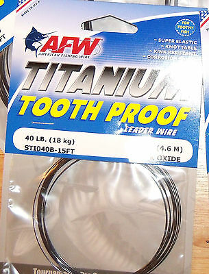STI030B-15FT AFW TOOTH PROOF TITANIUM LEADER Single Strand Wire 30LB Test  NEW