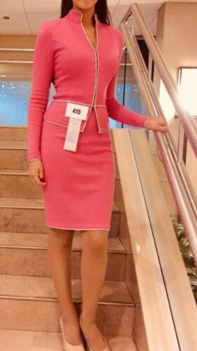 Pink Jennifer Roberts Knit Suit Pageant Interview