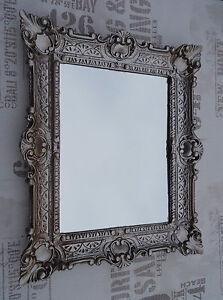 Discreet Espejo De Pared Plata Antigua Baño Vanidad 56x46 Barroco Reproducción 2 Muebles Antiguos Y Decoración