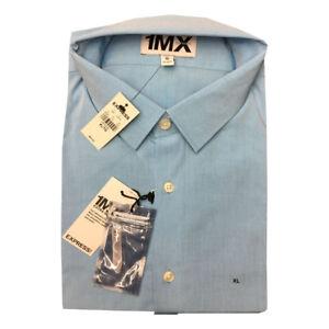 Express-Men-039-s-NWT-Blue-Extra-SLIM-FIT-Button-Down-L-Sleeve-Shirt-XL-17-17-1-2
