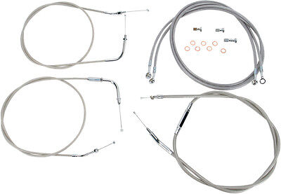 for 99-03 Yamaha XV1600A Stainless Steel 16 Handlebars Baron Custom Accessories Extended Stainless Cable and Line Kit