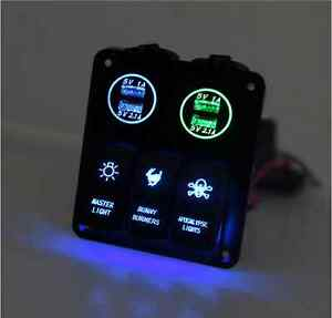 3 Gang LED Waterproof Car/Boat CIRCUIT Rocker Switch Panel Caravan Breaker USB