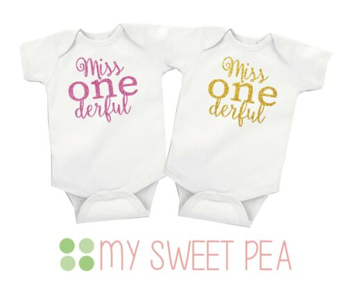 Miss ONEderful First 1st Birthday Glitter Baby Girl vest//grow free P/&P