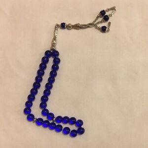 Islamic-Prayer-Beads-Misbaha-tasbih-Tesbeeh-Worry-Beads-Glass-33-Blue