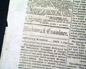 CONFEDERATE-General-George-McClellan-Nominated-President1864-Civil-War-Newspaper