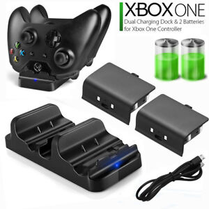 XBOX-ONE-Dual-Charging-Dock-Station-Controller-Charger-w-2-Rechargeable-Battery