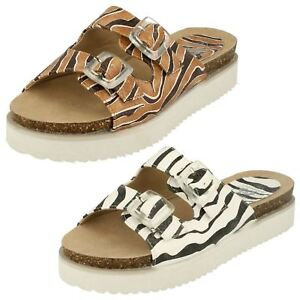 SALE-Ladies-F10322-Zebra-Mule-Buckle-Sandals-by-Down-to-Earth-NOW-4-99