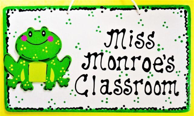 personalized teacher frog sign name plaque school classroom door