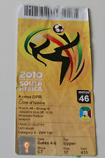 Ticket for collectors World Cup 2010 Ivory Coast - North Korea in Mbombela
