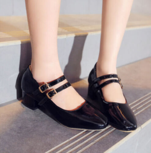 Cute Womens Mary Janes Buckle Boat Cuban Heel Plus Size PU Patent Leather Shoes