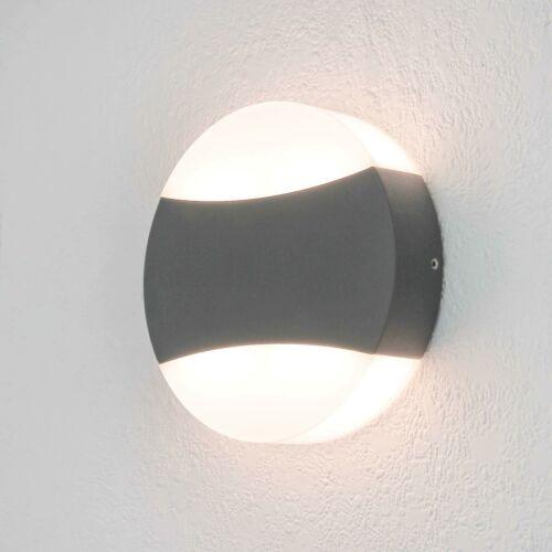 Moderne LED Außenleuchte anthrazit grau Wandleuchte rund 12 Watt