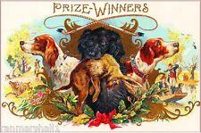 Prize Winners Hunting Dog Dogs Vintage Cigar Box Label Advertisement ART PRINT