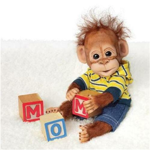 ASHTON DRAKE Handfuls of fun PLAYTIME WITH CHARLIE Baby Ape MONKEY Doll NEW