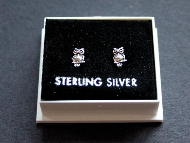 STERLING SILVER 925, STUD EARRINGS, SMALL OWL DESIGN, BUTTERFLY BACKS, STUD 167