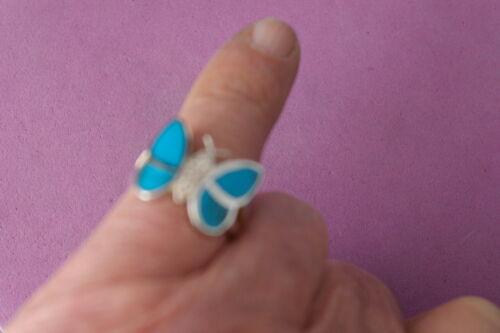 Bonito 925 Anillo De Plata Con m-o-p Color Azul Mariposa 6,9 gr.size L-P-R