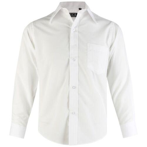 Boys Formal Shirt Wedding School Smart Party Casual Long Sleeve 5-15 Years